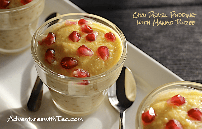 Chai Pearl Pudding with Mango Puree