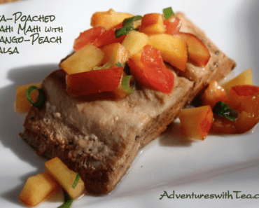 Tea-Poached Mahi Mahi with Mango Peach Salsa